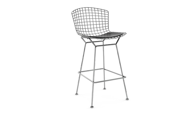 Knoll International - Bertoia Barkruk - 104 cm - chroom glanzend - Vinyl - zwart - 0