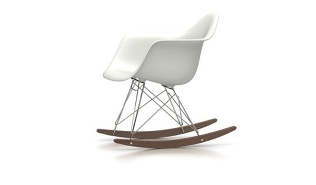 Vitra - Eames Plastic Armchair RAR mit Sitzpolster - zwart - wit - verchroomd - Esdoorn donker - 0