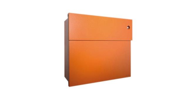Radius - Letterman Briefkasten 4 mit blauer Türklingel- orange - 2