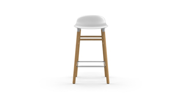 Normann Copenhagen - Form barkruk met houten frame en metalen steun - Eiken - wit - 65 cm - 2