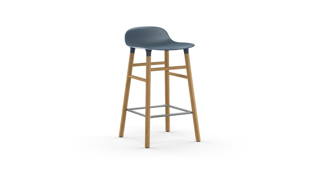 Normann Copenhagen - Form Barstuhl Holzgestell/Metallverstrebung - 65 cm - blau - Eiche - 1