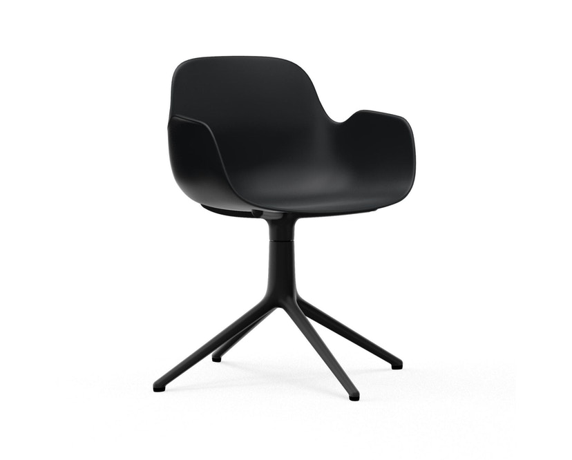 Normann Copenhagen - Form Drehsessel - Gestell Aluminium schwarz - Black - 1