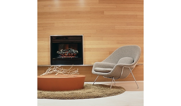 Knoll International - Saarinen Womb Fauteuil - Relax - Chroom - standaard (B/H/T 106x92x94 cm) - Donsvulling - Volo Black - zwart - 1