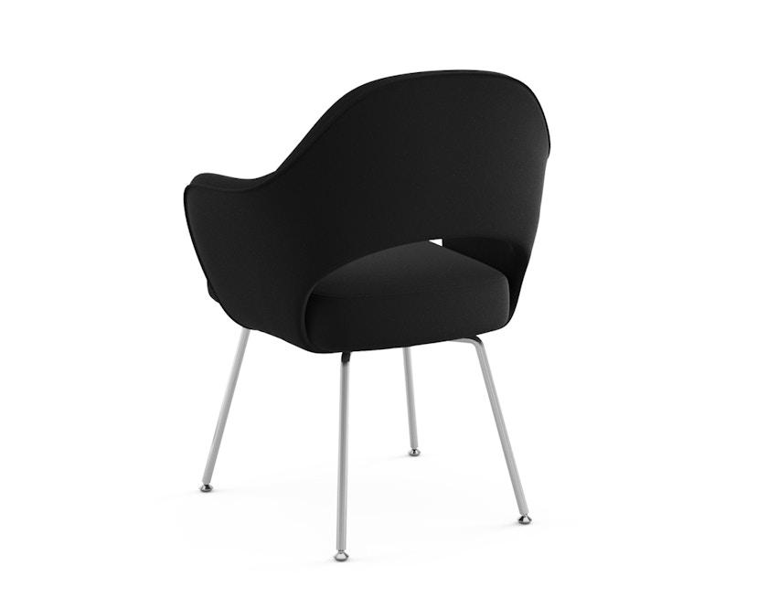 Knoll International - Saarinen Konferenz Armlehnstuhl - Bezug Ultrasuede schwarz - Stuhlbeine Chrom poliert - 1