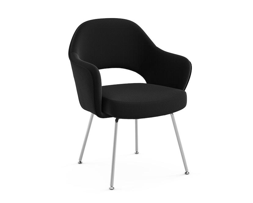 Knoll International - Saarinen Konferenz Armlehnstuhl - Bezug Ultrasuede schwarz - Stuhlbeine Chrom poliert - 0