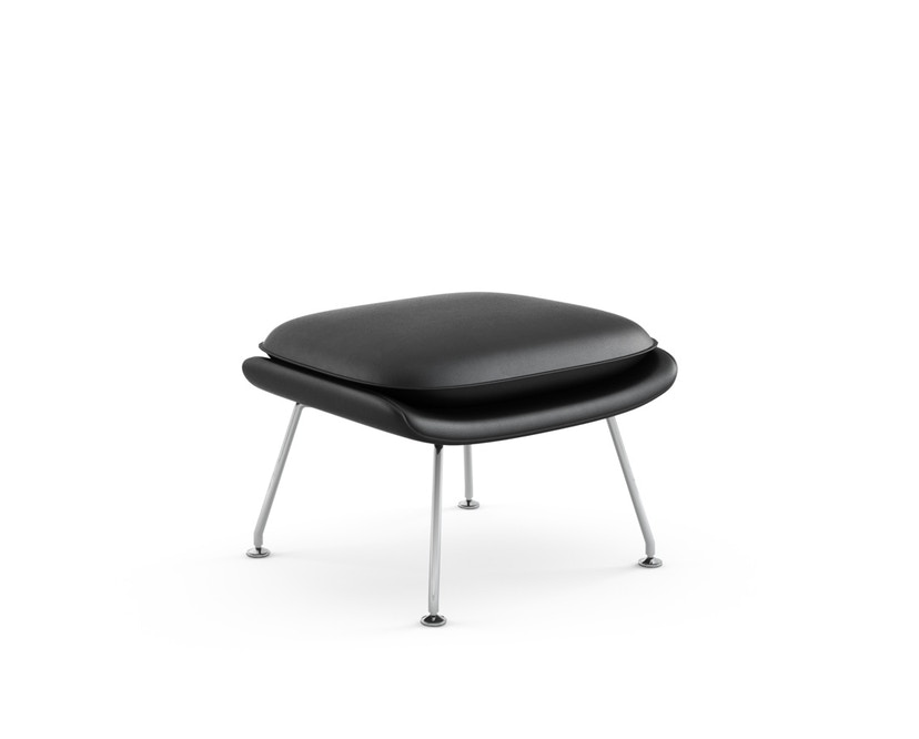Knoll International - Saarinen Womb Ottoman - Relax - Volo Black - zwart - Donsvulling - chroom glanzend - 0