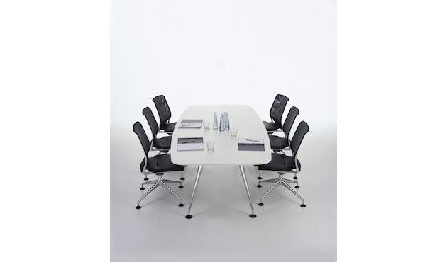 Vitra - MedaMorph Konferenztisch bootsförmig, 200x100 cm, Systemfuß poliert - Melamin soft light - 3