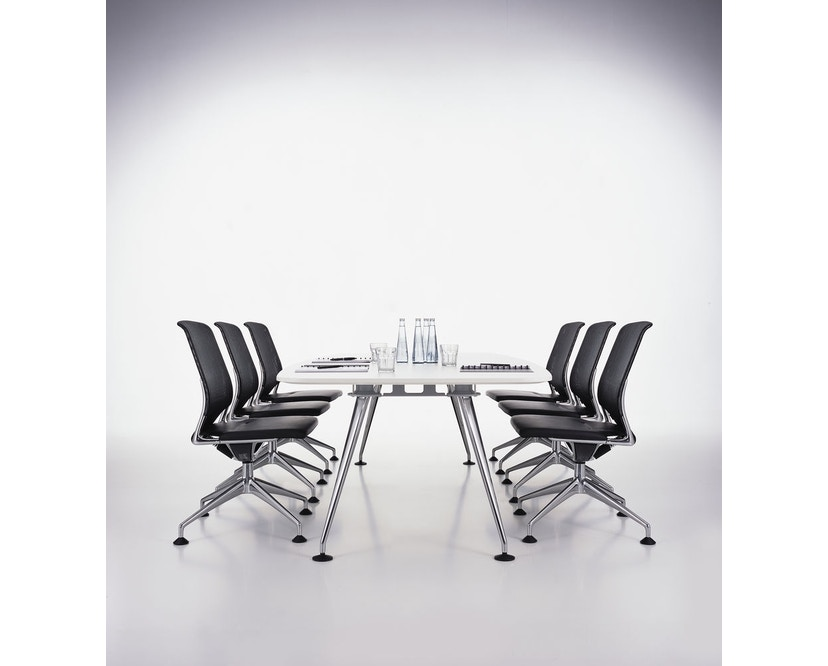 Vitra - MedaMorph Konferenztisch bootsförmig, 200x100 cm, Systemfuß poliert - Melamin soft light - 5