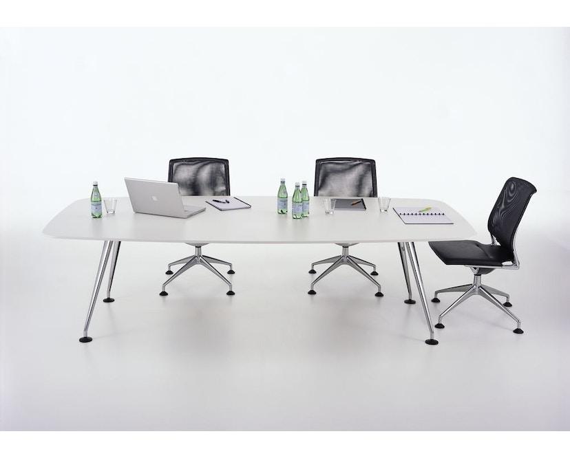 Vitra - MedaMorph Konferenztisch bootsförmig, 200x100 cm, Systemfuß poliert - Melamin soft light - 6
