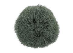 Bloomingville - Kissen mongolisches Lammfell - grün - 1