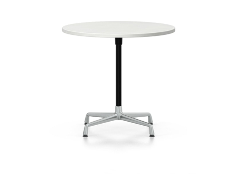 Vitra - Eames Contract Table rund ∅70cm, Melamin weiß, Ausleger poliert, Standrohr pulverbeschichtet basic dark - Melamin weiß - 1