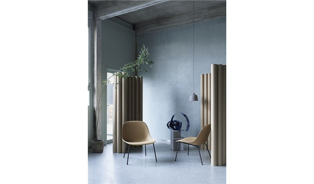 Muuto - Fiber Lounge Stuhl - Holzgestell Shell Base - schwarz - 3