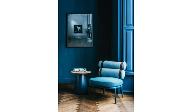 Kettal - Roll Club Sessel - kamillenweiß - Bezug arktikblau - Kontraststreifen braun - 5