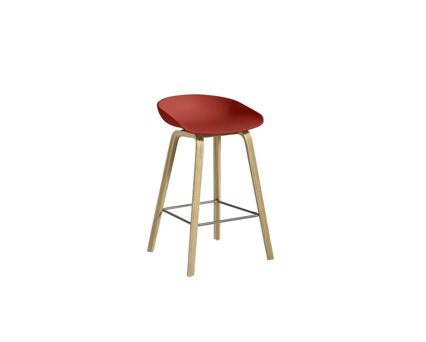 HAY - About a Stool AAS 32 - helder gelakt - warm rood - Sitzhöhe 65 cm - voetbank roestvrij staal - 3