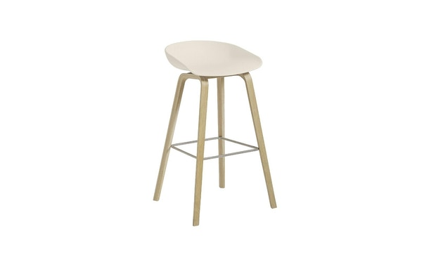 HAY - About a Stool AAS 32 - Sitzhöhe 75 cm - voetbank roestvrij staal - Eik mat gelakt - crèmewit - 5