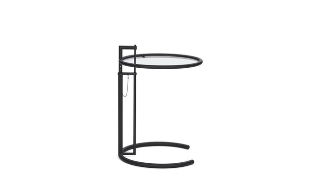 Classicon - Adjustable Table E 1027 - noir - Verre en cristal clair - 1