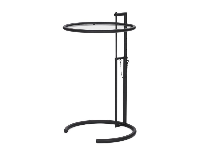 Classicon - Adjustable Table E 1027 - noir - Verre en cristal clair - 2