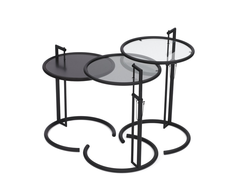 Classicon - Adjustable Table E 1027 - noir - Verre en cristal clair - 3