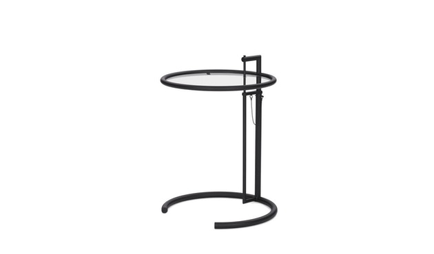 Classicon - Adjustable Table E 1027 - noir - Verre en cristal clair - 0