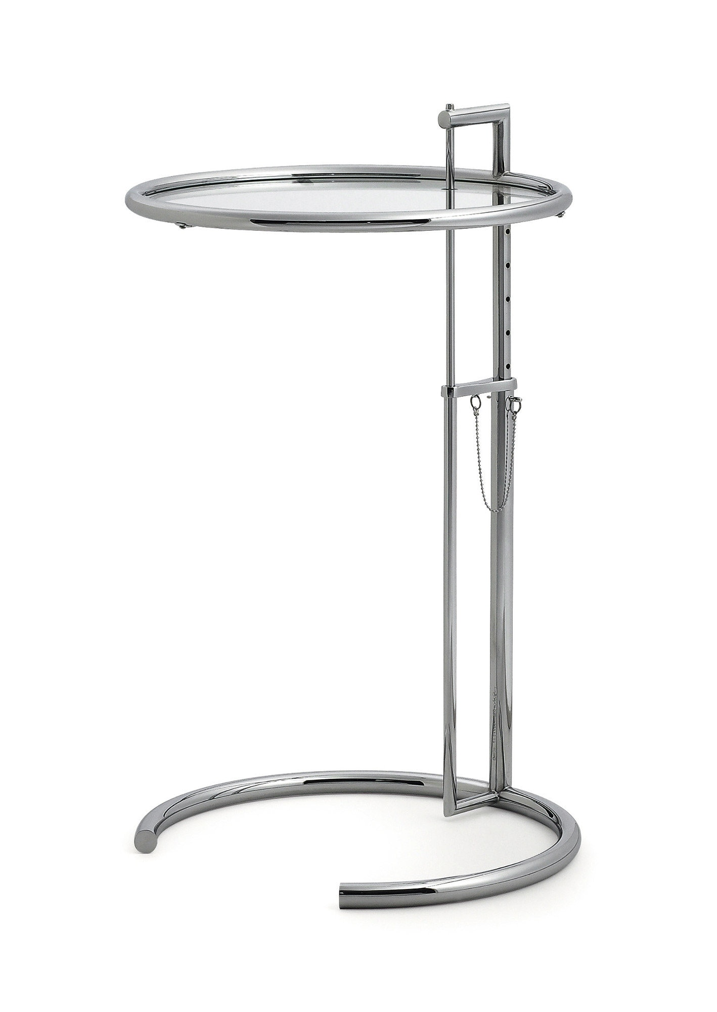 Classicon - Adjustable Table E 1027 - chrome - Verre en cristal clair - 8