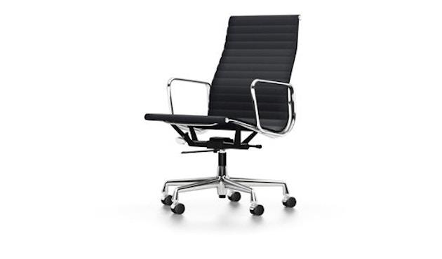 Vitra - Aluminium Sessel - EA 119, Gestell poliert, Rollen harte Böden - Hopsak - 66 nero - 1