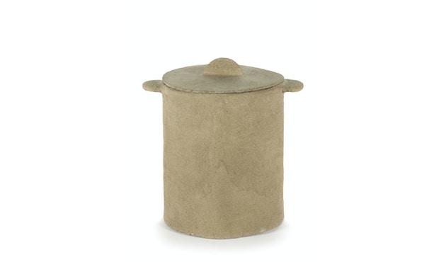 Marie Papier Mache Korb + Deckel - beige