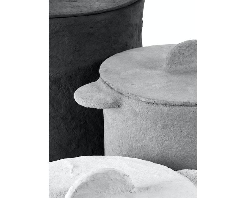Marie Papier Mache Korb + Deckel - weiß