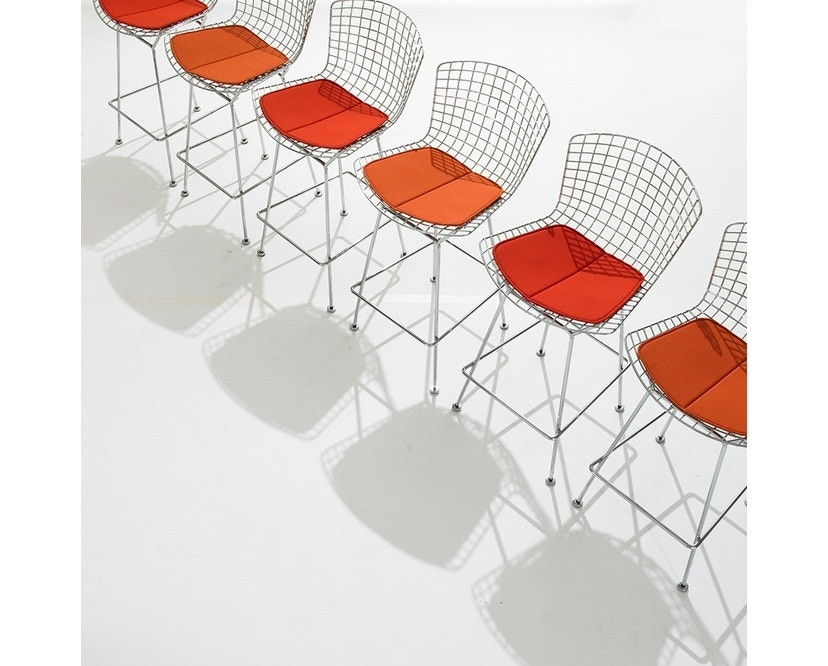 Knoll International - Bertoia Barhocker - Sitzkissen Vinyl orange - Gestell Chrom poliert - Höhe 100 cm - 3