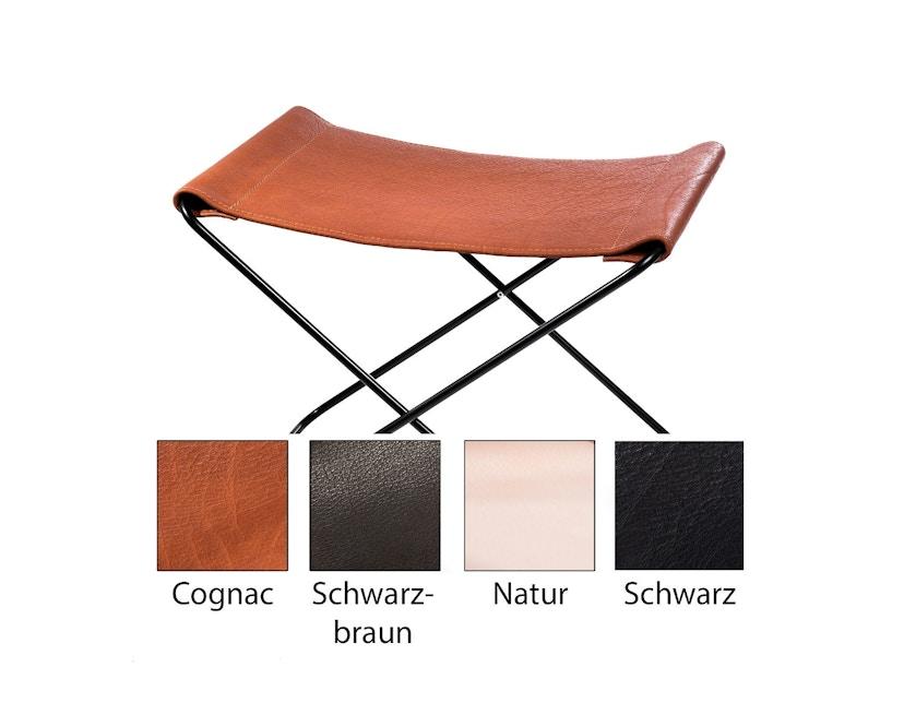 Manufakturplus - Fußteil für Hardoy Butterfly Chair - Stahlrahmen weiß, Biobüffel-Leder schwarzbraun - 1
