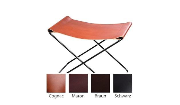 Manufakturplus - Fußteil für Hardoy Butterfly Chair - Stahlrahmen weiß, Blankleder cognac - 1
