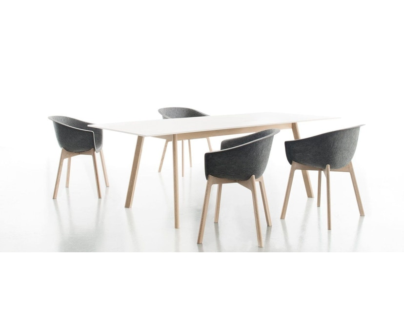 Conmoto - PAD Tisch mit Ausschnitt - CCL  weiß - Eiche weiß - 2