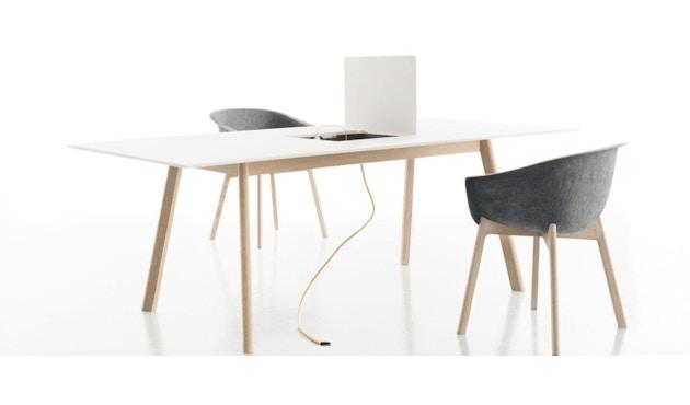 Conmoto - PAD Tisch mit Ausschnitt - CCL  weiß - Eiche weiß - 3