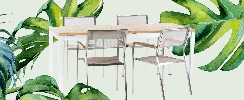 Jan Kurtz Quadrat Tisch und 4x Lux Stapelsessel
