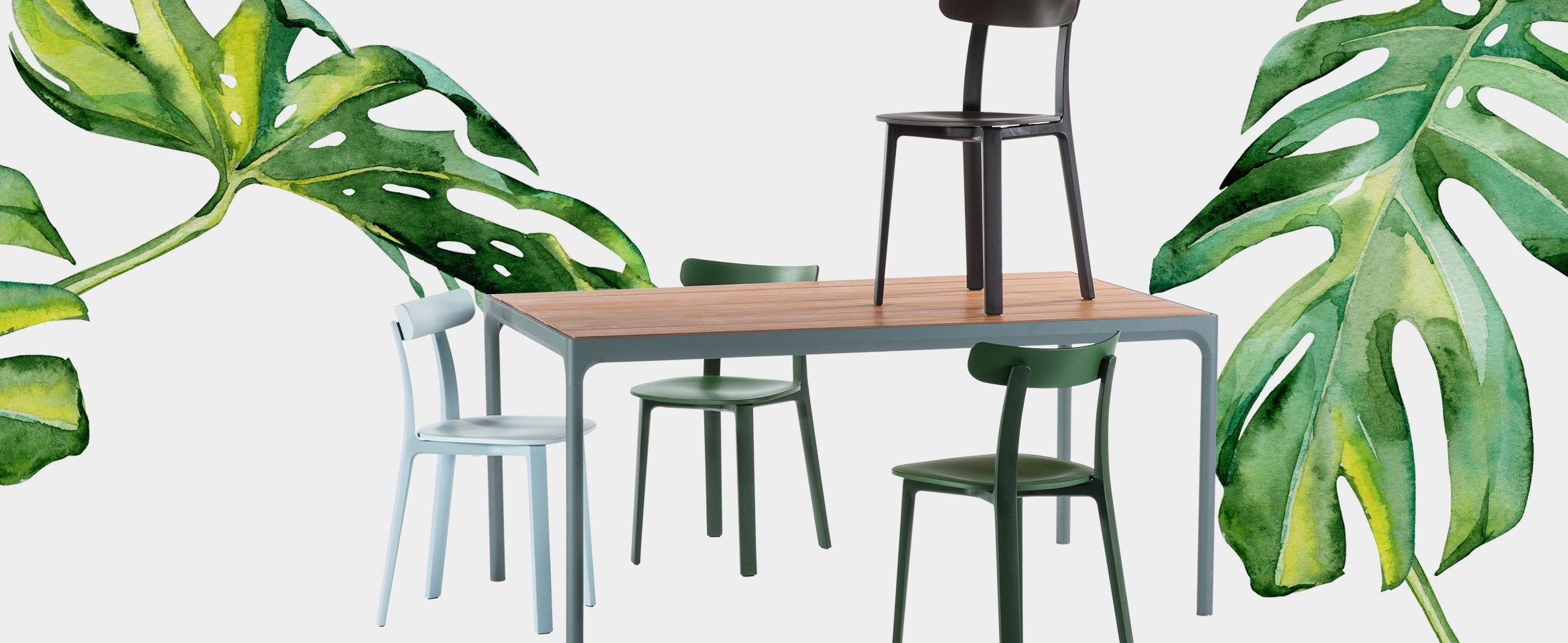 Houe Four tafel en Vitra All Plastic Chair