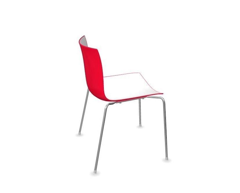 Arper - Catifa 46 Stuhl - bicolour rot/weiß - Gestell verchromt - 1
