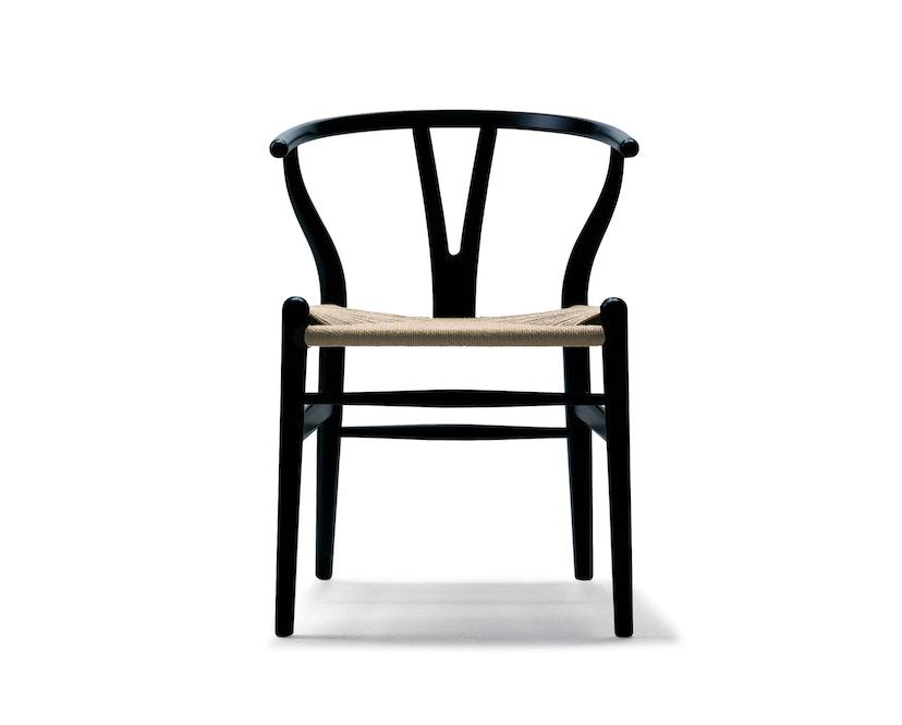 Carl Hansen - CH24 Y Wishbone Stuhl - Eiche schwarz lackiert - Geflecht natur - 1
