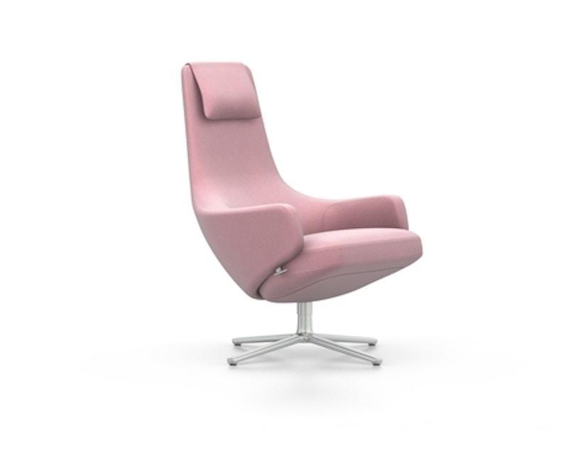 Vitra - Repos Sessel & Ottoman - Sitzhöhe 46 cm, Ottomann 45 cm - Untergestell Aluminium poliert - Cosy2 zartrose - 2
