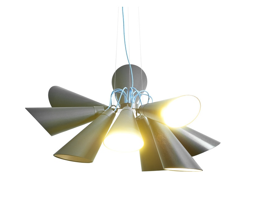 Domus - Pit 9 Pendelleuchte - weiss - Textilkabel blau - 4