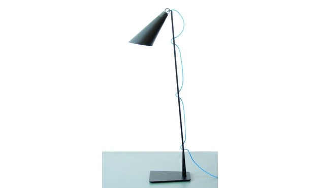 Domus - Pit Stehleuchte - schwarz - blaues Textilkabel - 1