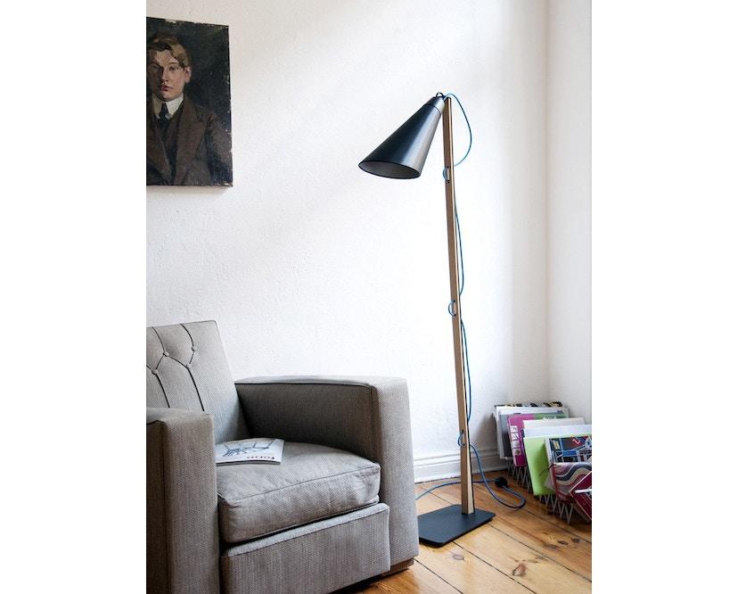 Domus - Pit Stehleuchte - schwarz - blaues Textilkabel - 6