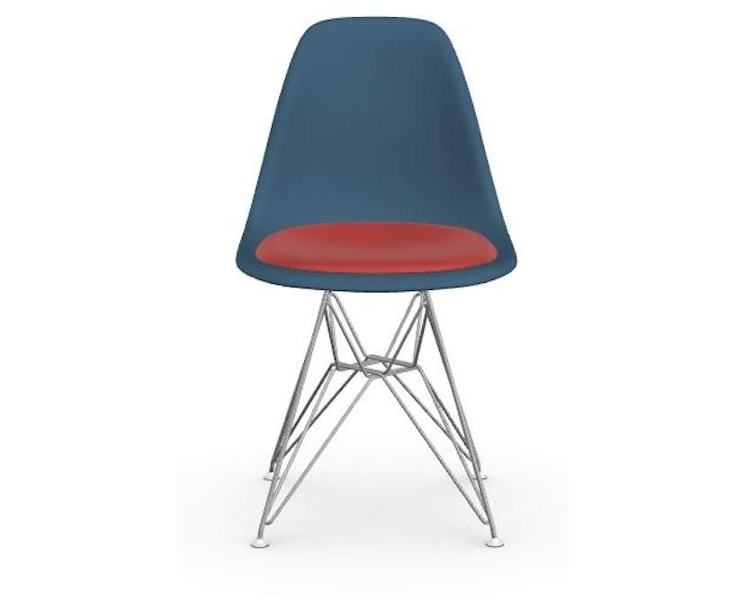 Vitra - DSR mit Sitzpolster - 83 sea blue - Hopsak 96 rot/cognac - Filzgleiter Hartboden - Sitzhöhe 46 cm - 1