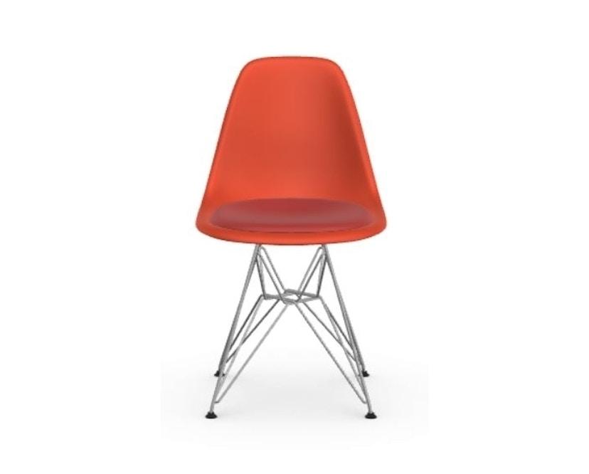 Vitra - DSR mit Sitzpolster - poppy red - Hopsak 96 rot/cognac - Filzgleiter Hartböden - Sitzhöhe 46 cm - 2
