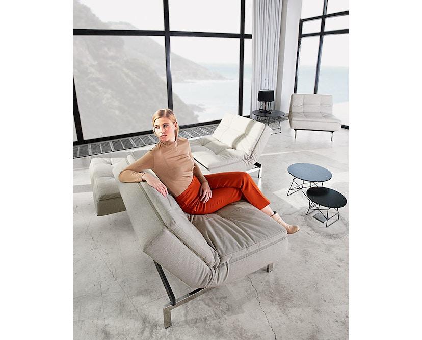 Innovation - Dublexo Schlafsofa - Dess. 563 - grau - Gestell matt schwarz - Beine Ulme dunkel - 8