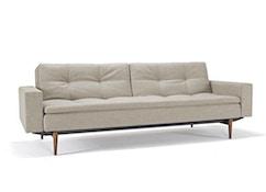 Innovation - Dublexo Sofa mit Armlehnen - Dess. 563 - grau - Beine Ulme dunkel konisch, Gestell schwarz - 1