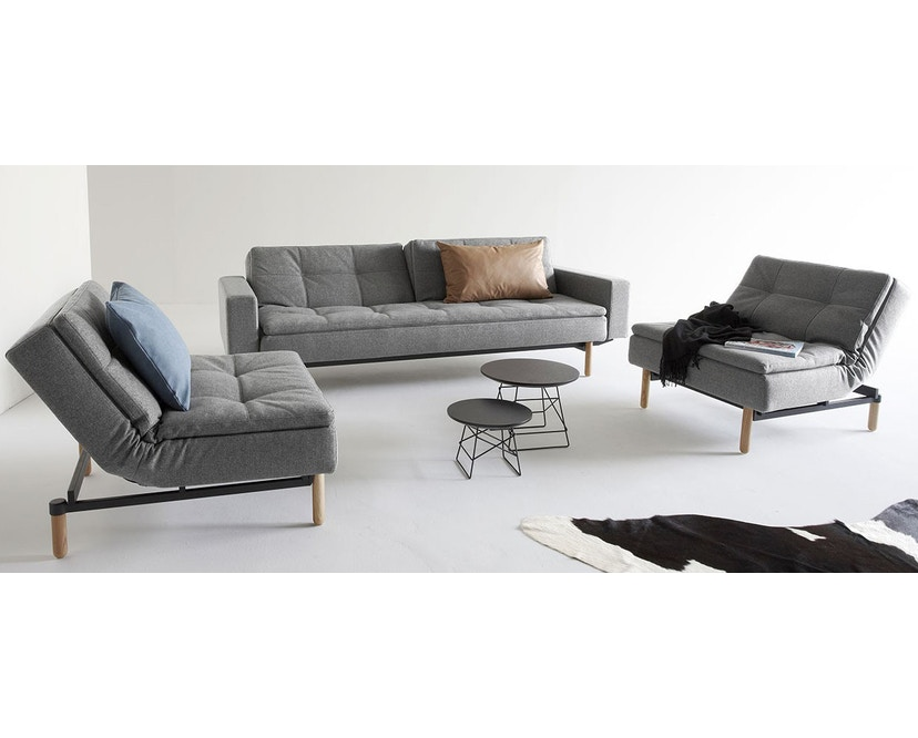 Innovation - Dublexo Sofa mit Armlehnen - Dess. 563 - grau - Beine Ulme dunkel konisch, Gestell schwarz - Chroom - natural - Mixed Dance - 2