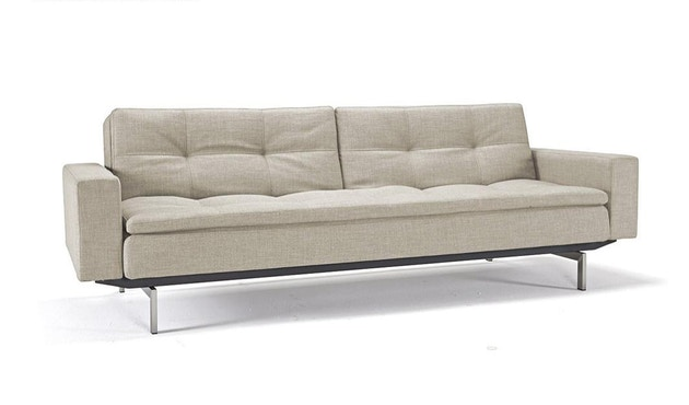 Innovation - Dublexo Sofa mit Armlehnen - Dess. 563 - grau - Beine Ulme dunkel konisch, Gestell schwarz - Chroom - natural - Mixed Dance - 1