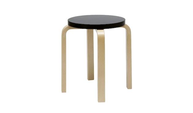 Artek - E60 Hocker - Gestell Birke - Sitz schwarz lackiert - 1