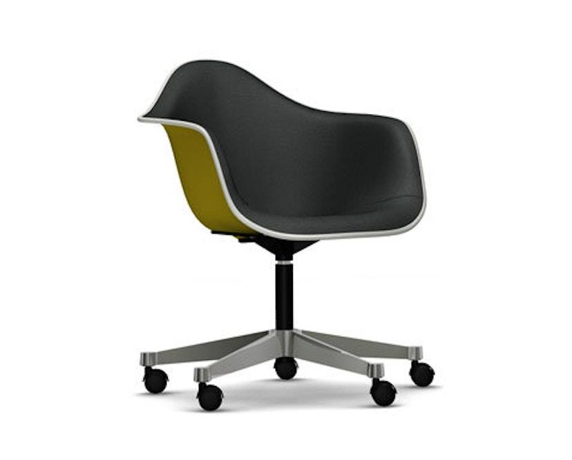 Vitra - Eames Plastic Armchair PACC mit Vollpolster - Schale senf, Bezug dunkelgrau - Keder weiß - 1