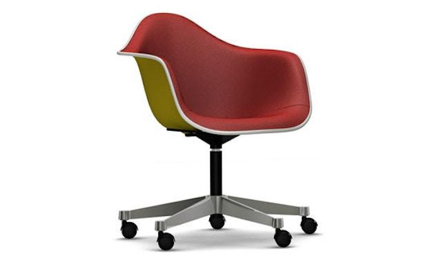 Vitra - Eames Plastic Armchair PACC mit Vollpolster - Schale senf, Bezug rot/ cognac - Keder weiß - 1