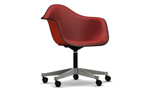 Vitra - Eames Plastic Armchair PACC mit Vollpolster - Schale rot, Bezug rot/ cognac - Keder schwarz - 1